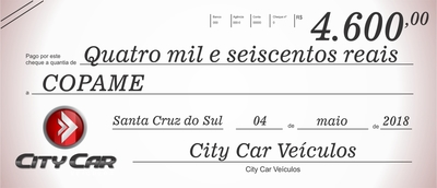 O grupo CityCar destinou parte do seu imposto devido a Associação Comunitária Pró Amparo do Menor de Santa Cruz do Sul.